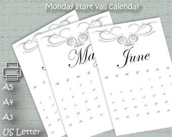 Printable Calendar 2018 Calendar 2018 Printable Large Calendar Printable Black and White Calendar A5, A4, A3,  US Letter,  retro