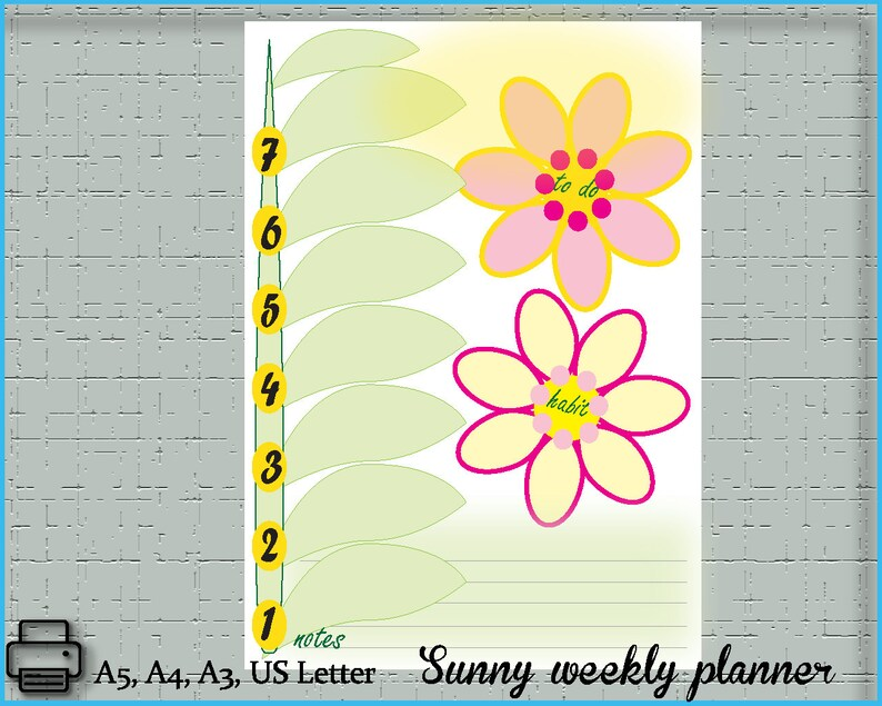 Sunny Weekly Planner, 2019 handy, easy to use weekly planner, 2019 planner  agenda, a5, a4, A3, US Letter organizer