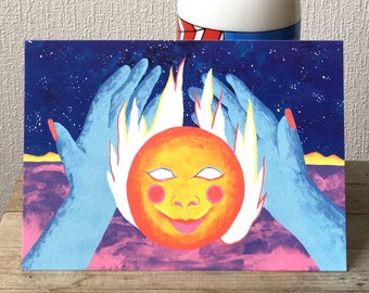 Illustration of magical hands in a colorful landscape that hold a burning crystal ball in the middle of the night with a starry sky
