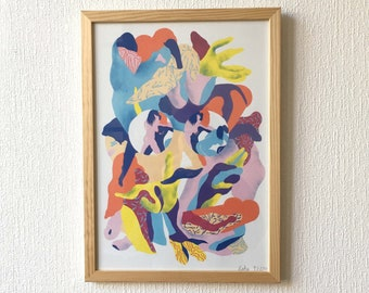 Abstract and erotic artwork in soft colors with naked female bodies playing