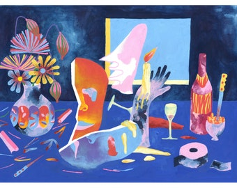Digigraph of a still life, colorful table with bouquet of flowers in a vase and a bottle of wine with a pink ghost