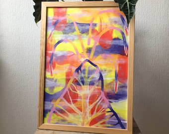 Painting of an erupting volcano with minerals and rocks background with abstract colorful patterns of meteorites, natural earth plant rock