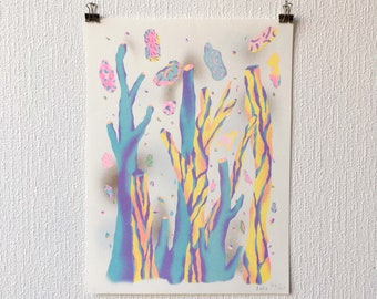 Risography poster of an imaginary wooded landscape of a forest with trees in soft and pastel colors