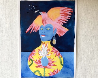 Digigraphy or squirt of a blue woman's face with a bird in her hair with a vase with floral motifs, botanical theme