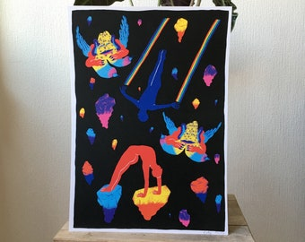 Poster of space and cosmos with two amorous characters on interstellar travel surrounded by asteroids and colorful planets