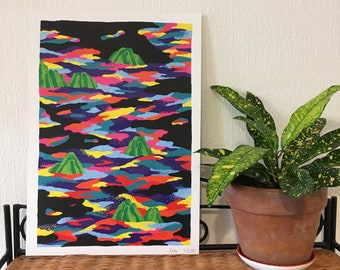 Digital printed drawing of an abstract and colorful landscape on a black background, multicolored beaches and mountains connoting food