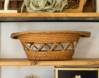 Geometric Vintage Wicker Basket with Handles