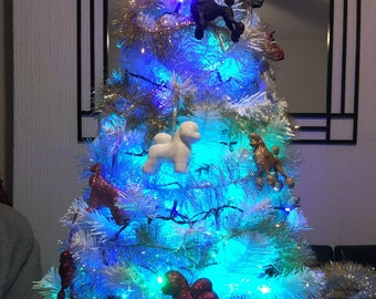 Bichon Frise Christmas Tree Figurine Decoration//Ornament Bauble Gift//Present