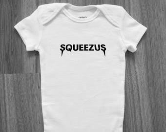 ba995f16c Yeezus Inspired Squeezus Romper Bodysuit Supreme Bape Off-White Champion  Yeezy Hypebeast Streetwear Hype Infant Kanye West Baby Shower Drake
