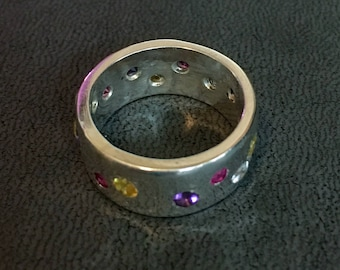 Silver Ring with Colored Stones