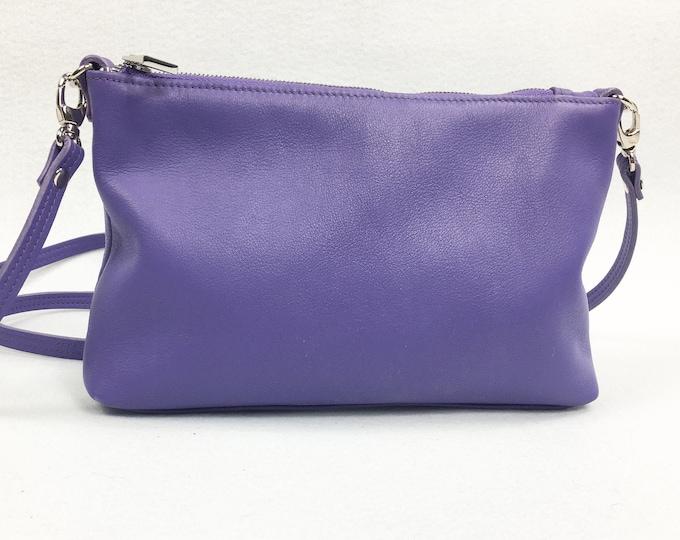Purple, lavender leather cross body bag, small cross body bag, summer bag