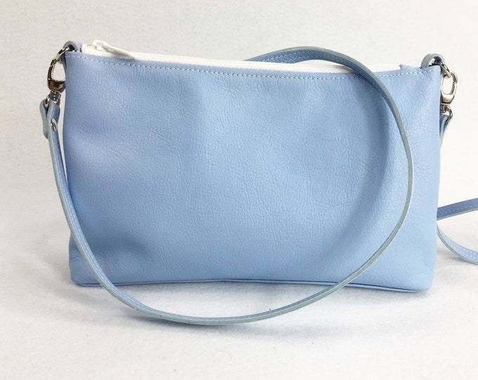 Light blue leather cross body bag, small cross body bag, full grain leather bag, genuine leather bag, with lining