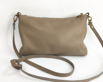 Taupe leather, beige leather, Italian leather,  cross body bag, small leather crossbody bag, small bag, genuine leather, for women
