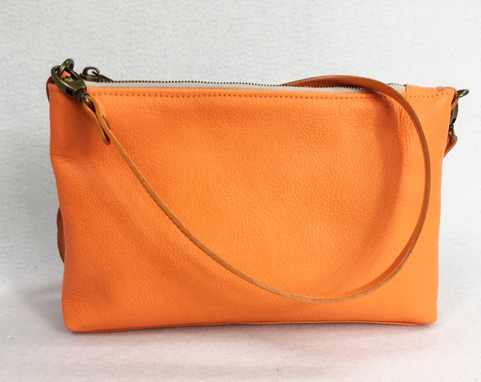 Orange leather, cross body bag, small minimalist bag, small crossbody bag, genuine leather bag