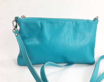 Turquoise leather cross body bag, small cross body bag, genuine leather, handmade, for women