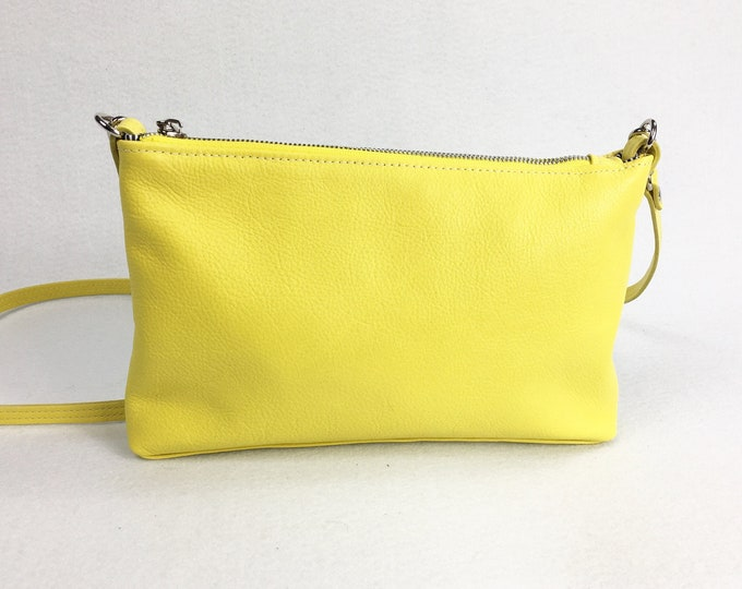 Yellow leather cross body bag, small bag, minimalist crossbody bag, genuine leather, with lining.