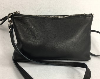 Black leather small cross body bag, genuine leather, with inside zipper pocket, for women.