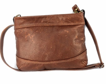Medium Leather Cross Body Bag, full grain leather, rustic cognac coloured leather, handbag