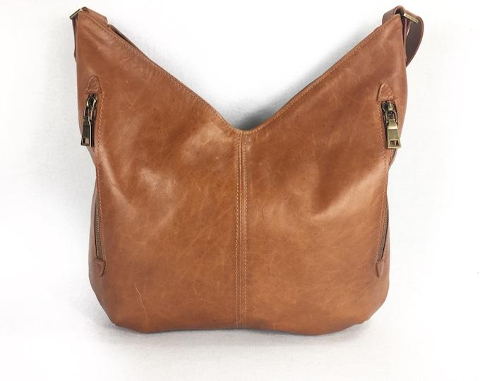 Brown or brandy coloured Leather Hobo bag or shoulder bag for women