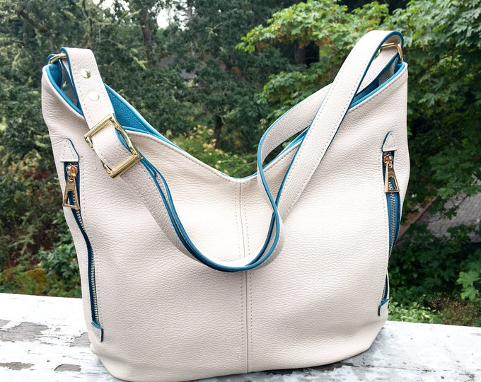 Cream and teal, Italian Leather Hobo bag and shoulder bag