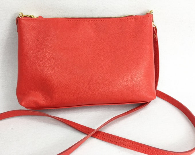 red leather, minimalist, cross body bag