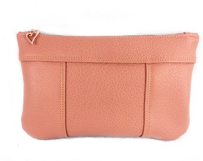 Coral or salmon coloured leather clutch for summer for day and evening