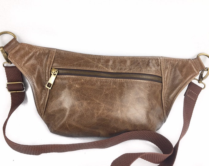 Dark Brown Rustic Leather Fanny Pack or Cross body Bag, festival bag, hip bag, sling bag
