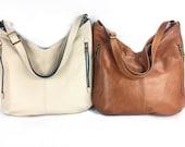 Cream and teal, brown, Leather Hobo bag