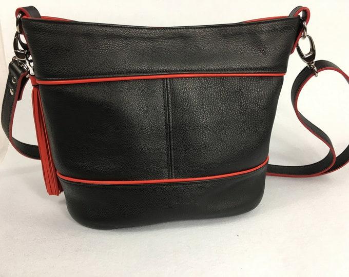 Black and Red Bag,  Shoulder and Crossbody,  Bucket Bag, Large Bag