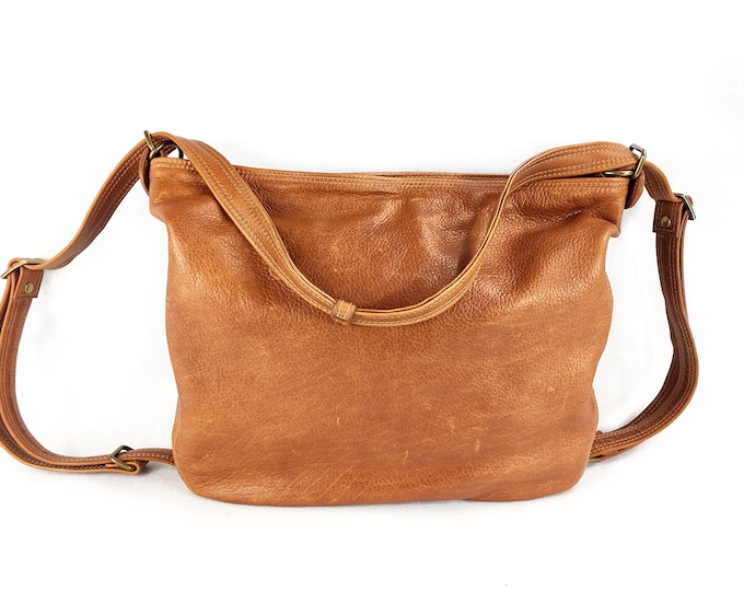 Whiskey coloured leather convertible bag, brown leather backpack, cross body bag, shoulder bag