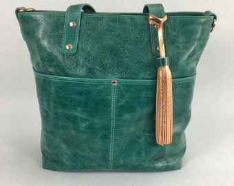 Teal Leather Tote, leather shoulder bag, medium sized tote,
