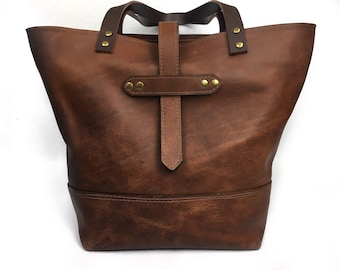 Full grain leather tote, pull up leather tote bag, strong leather tote bag, leather shopping bag for women. Unlined
