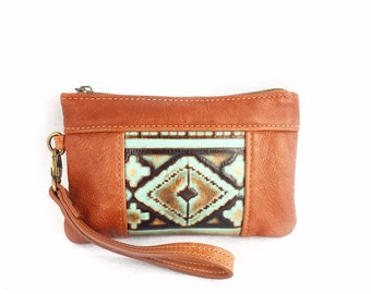 Light Brown and Turquoise Wristlet, western style wristlet and small wristlet for women