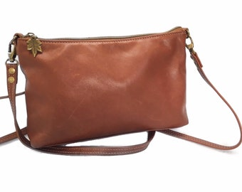 Brandy coloured leather bag, cross body bag, minimalist leather bag, top grain leather bag, handcrafted  bag,