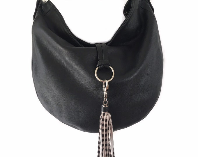 Black Leather Hobo bag, Large shoulder bag, Lined Leather Bag, Bag for Everyday