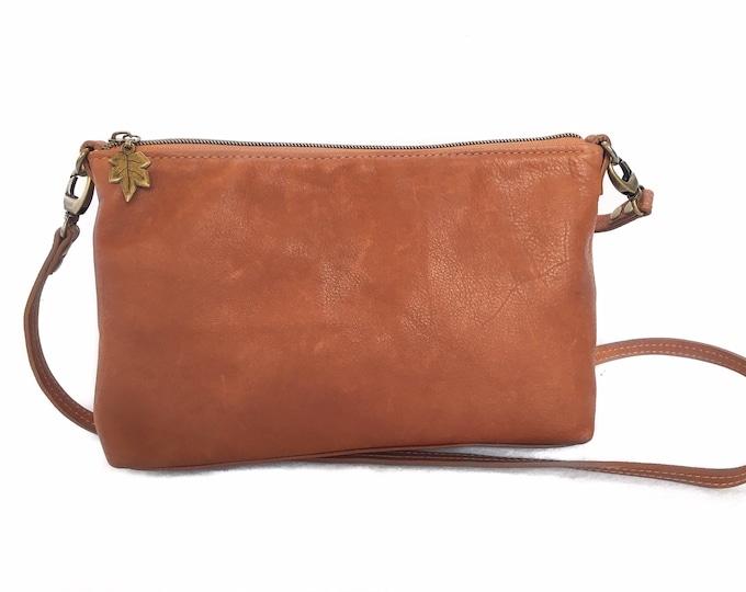 Whiskey coloured leather bag, cross body bag, minimalist leather bag, top grain leather bag, handcrafted  bag,