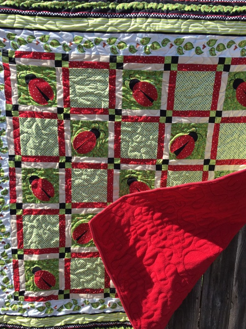 Ladybug Fly Away Home quilt Baby Blanket Throw