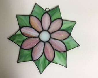Pink Daisy Stained Glass Suncatcher G-17