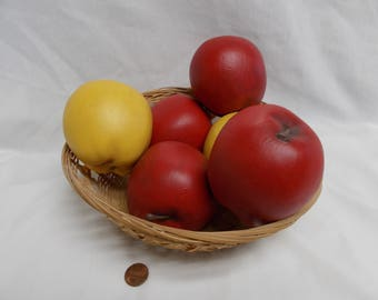 Set of 6 Red and Yellow Apples- painted ceramic bisque