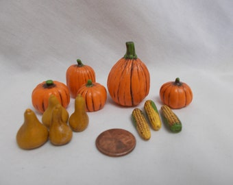 Miniature Pumpkins, gourds and ears of corn-set of 13 pieces-painted ceramic bisque