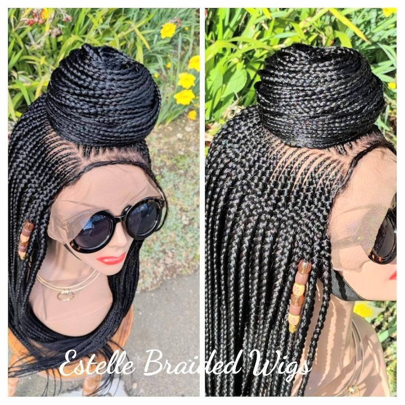 a0fdfe179d0466 Braided Lace Wig Full Frontal Bun Styling Braids Wig Box | Etsy