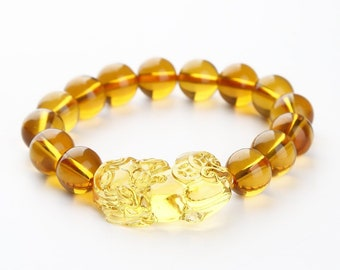 12mm Feng Shui Citrine Gem Stone Bracelet with Pi Xiu / Pi Yao - Attract Wealth, Prosperity, and Good Luck