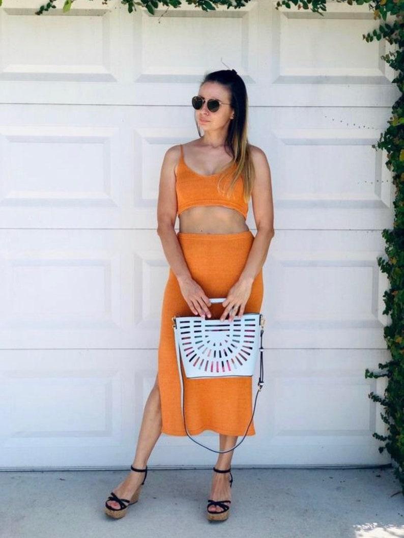 skirt Orange knit crop top Ready to ship.