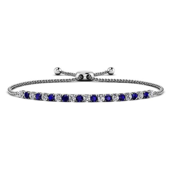 Blue Sapphire & Diamond Boho Bracelet 14k Gold