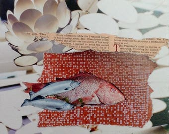 fish market, collage hand cut paper