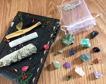 Sacred Spirituality kit~ all-in-one meditation/medicine healing bag, selenite wand, palo santo, sage, and bay leaf sampler