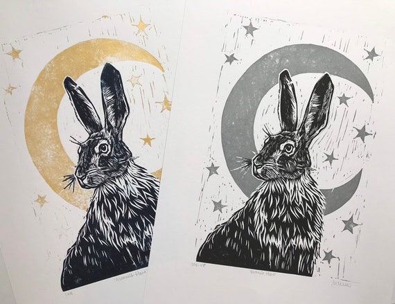 Hare Lino print - Moonlit Hare - Original, handprinted, unframed, unmounted, open edition linocut (hare, wildlife, moon, stars, folklore)