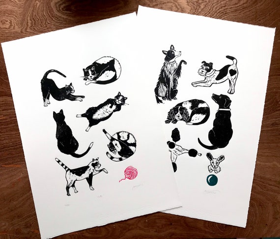 Dogs Lino print - Original, handprinted limited linocut (black dogs, animals, graphic art linoprint, labrador, fox terrier, border collie)