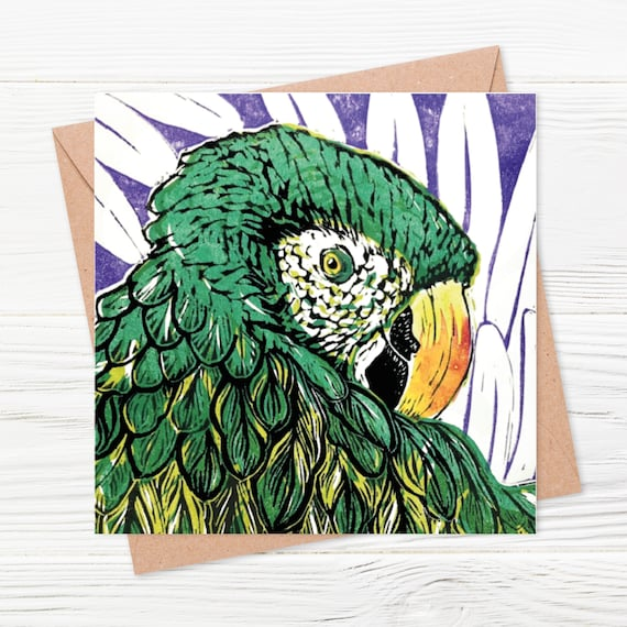Macaw Card - digitally printed blank greetings card - detail of an original Linoprint (bird, parrot, jungle)