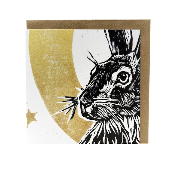 Hare Card - Moonlit Hare - digitally printed blank greetings card - detail of an original Linoprint (Rabbit, Wild, Moon, Folklore, nature)